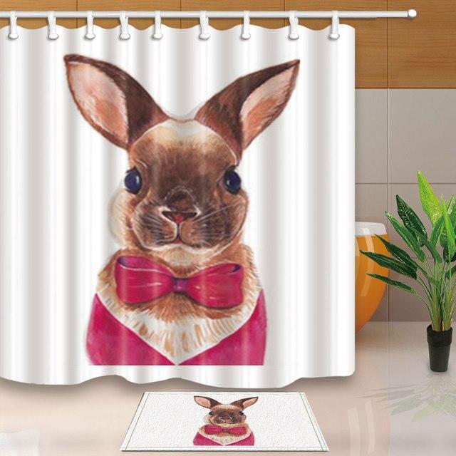 High Quality Shower Curtains Animal Avatar A Cute Rabbit Bathroom Curtain Polyester Fabric Waterproof Mildew Proof