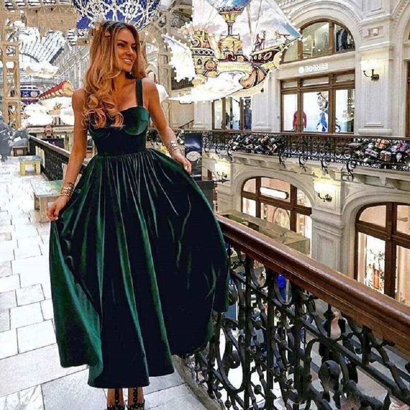 Elegant Ankle Length Dark Green Cocktail Dresses 2019 Sweetheart Velvet Formal Party Gowns Homecoming Dresses