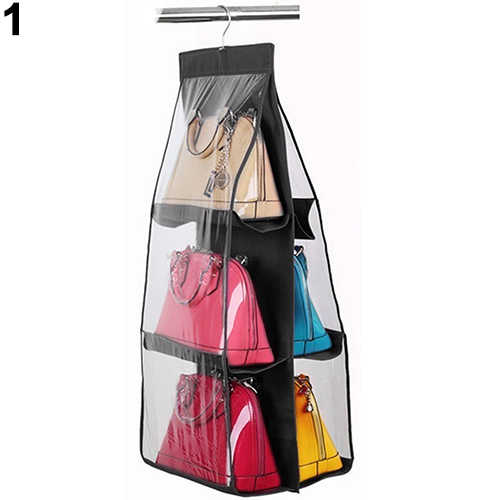 6Pockets Hanging Handbag Purse Bag Tidy Organizer Storage Wardrobe Closet Hanger