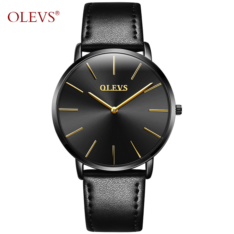 Ultra Thin Wristwatch Olevs Brand Luxury Leather Watch Men