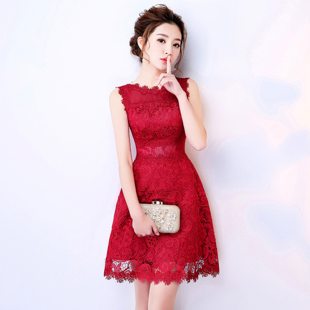 Robe demoiselle d honneur2018 New Lace a Line Burgundy bridesmaid dresses  Knee Length dress for wedding party c292167bbd1b