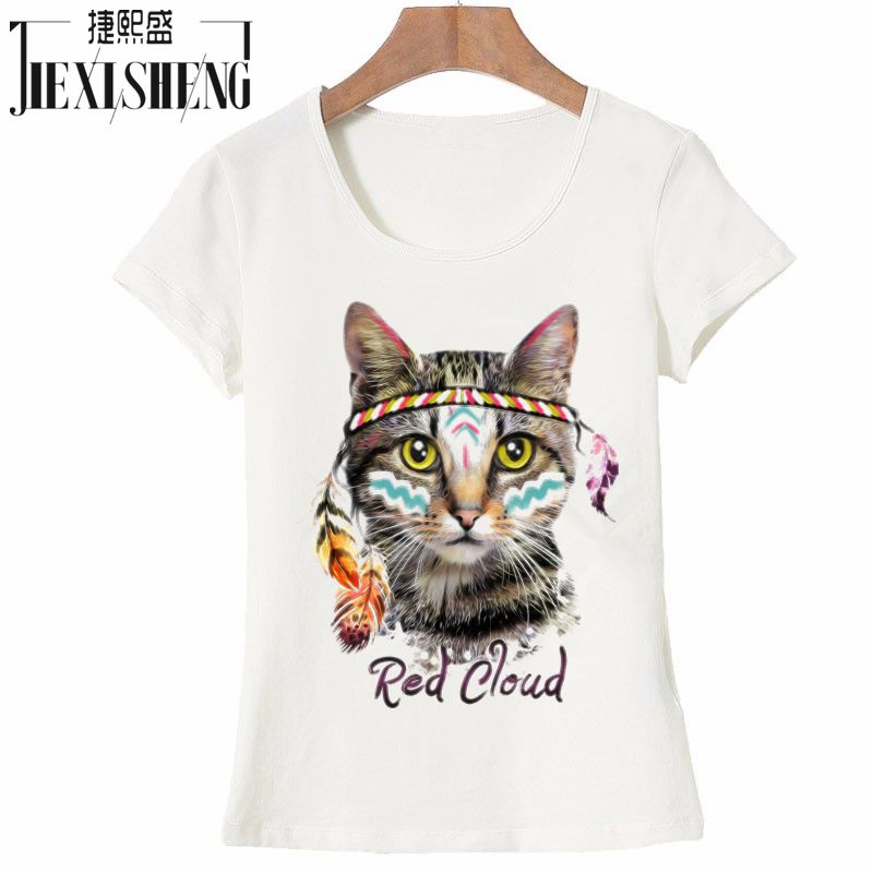 Novelty Red Cloud Cute Funny Cat Printed T Shirt Women 100% Cotton Short Sleeve Big Size Tshirt Fashion Casual Brand Tops Tees