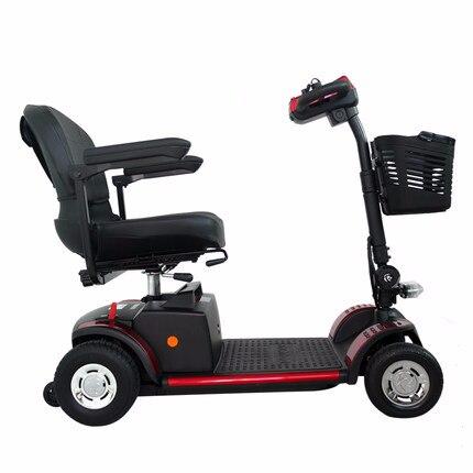 Scooter électrique adulte multifonction personnalisable avec panier 12 V 180 W pliant avec batterie Li-ion rouge jaune noir - 2