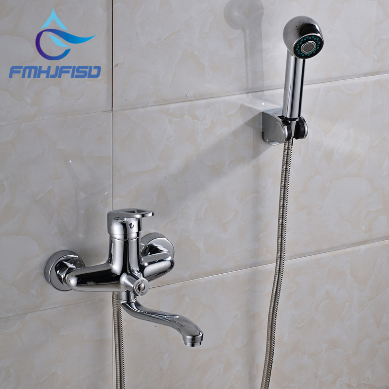 Wall Mounted Bathroom Tub Faucet Extent Spout W/ Hand Shower Mixer Chrome Finish modern thermostatic shower mixer faucet wall mounted temperature control handheld tub shower faucet chrome finish