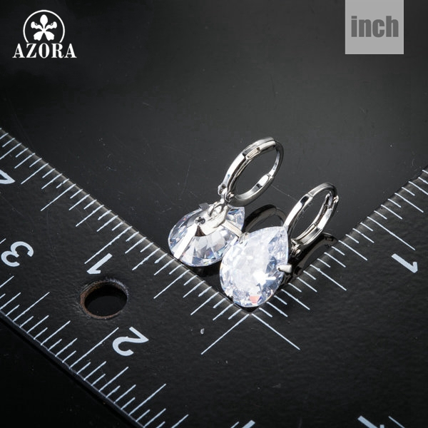 AZORA Merek Desain Pear Cut Batal Cubic Zirconia Water Drop Earrings - Perhiasan fashion - Foto 3