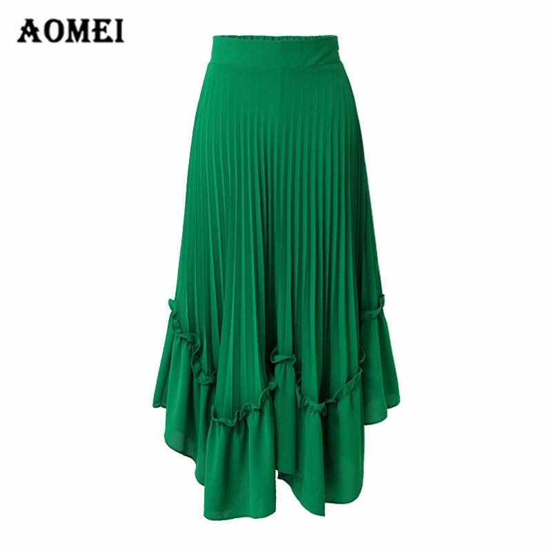 7584b1936 Summer Chiffon Pleated Skirt Irregular Length Ruffles with Zipper Boho  Vacation Women Beach Plus Size Clothing
