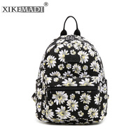 Fashion Chrysanthemum Pattern Laptop Teenage Girl Backpack Canvas Leather Printing Black Travel Backpacks Sac A Dos