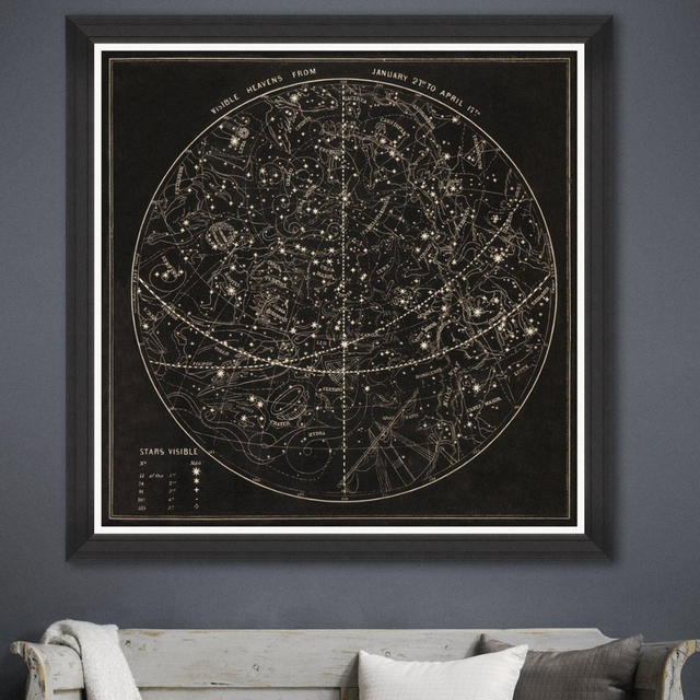 Square The Planet Canvas Art Print Poster Black White Wall Picture for Living Room Moon Framed Art Prints Wall Poster Home Decor