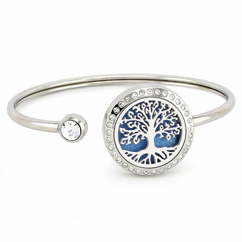 Nieuwe collectie Aroma Medaillon Bangle 25mm Zilverkristallen 316L Rvs Essentiële Olie Diffuser Medaillon Armbanden