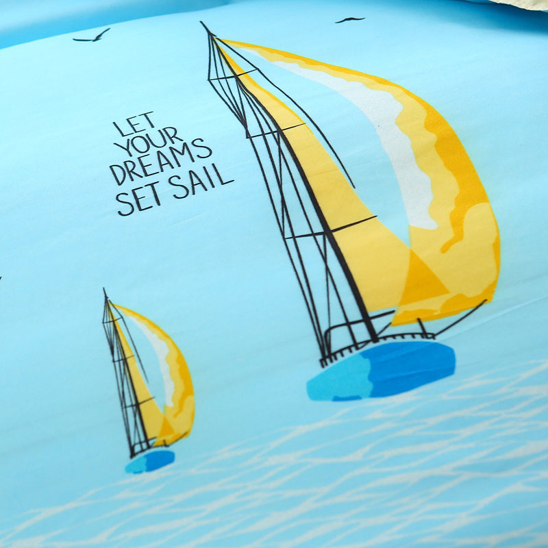 Solstice Home Textile Blue Ocean Sailboat Boy Kid Bedding Sets Twin Queen Duvet Cover Pillowcase Flat Bed Sheet Girls Teen Linen