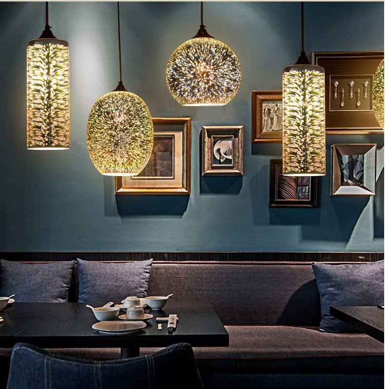 Fashion creative 3D stained glass pandant personalized Art Deco restaurant bar Bedroom living room dining room Home Decoration