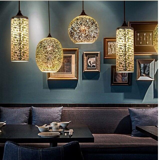 Mode créative 3D vitrail pandant personnalisé Art déco restaurant ...