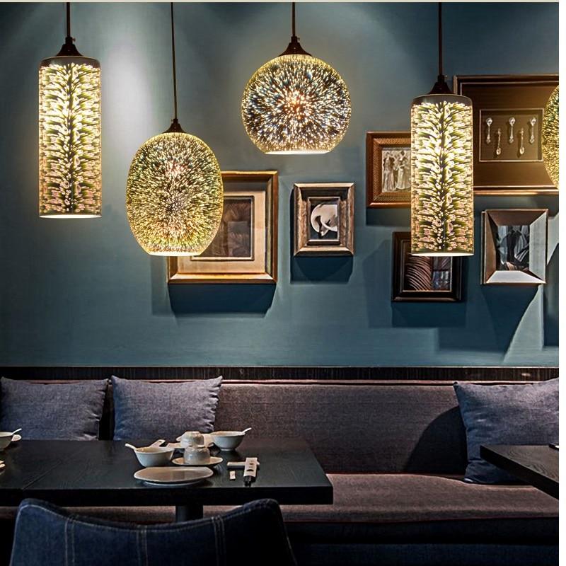 US $46.1 33% OFF|Mode kreative 3D glasmalerei pandant personalisierte Art  Deco restaurant bar Schlafzimmer wohnzimmer esszimmer Hause Dekoration-in  ...