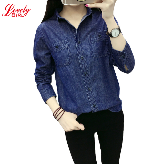 1a97108538402 Womens Tops 2018 Spring And Summer Long Sleeve Woman Shirt Korean Style  Women s Denim Shirts And Blouses Long Shirt Femme Top