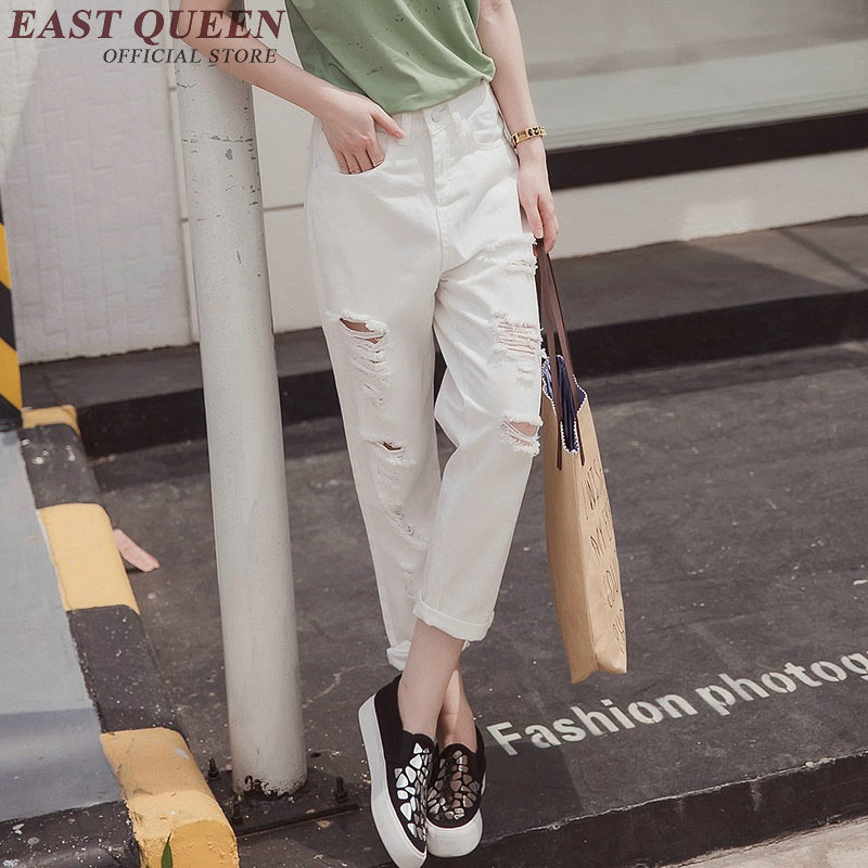Jeans woman 2017 fashion white jeans women ripped hole washed-out jeans mid waist casual loose denim pants AA2484 YQ autumn new fashion cotton jeans women loose low waist washed vintage big hole ripped long denim pencil pants casual girl pants