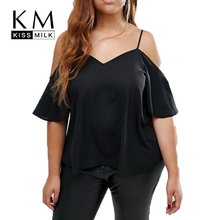 Kissmilk Plus Size Solid Casual V-Neck Women T-shirt Camis Cold Shoulder Sexy Tops Black Loose Top Tees Big Size 3XL 4XL 5XL 6XL christmas high low cold shoulder plus size t shirt