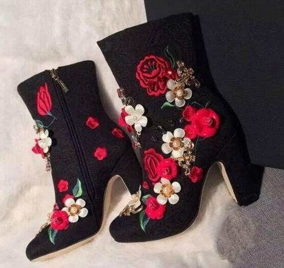 Flowersizme të larta të qëndisura me lule të larta, çizme të - Këpucë për femra - Foto 2