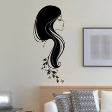 Beauty Hair Girl Salon Wall Decal DIY Art Vinyl Decoration Spa Shop Sticker Self-adhesivo Vinilos Mural NY-379