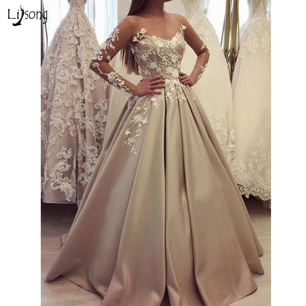 Modest Champagne Lace Flower Wedding Dresses 2019 Illusion