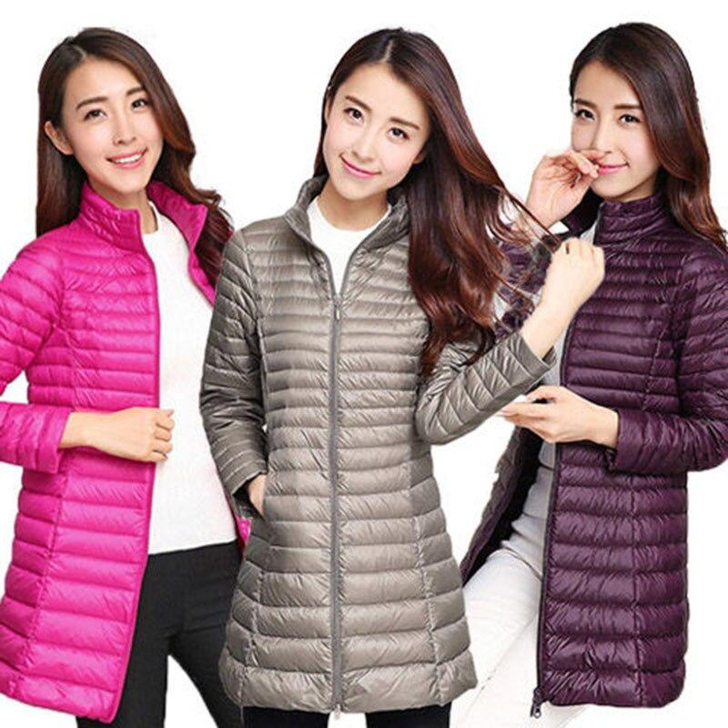 Mom's Plus Size Lightweight Down Jackets 2019 Women Long Sleeve Collarless   Parkas   Autumn Winter Warm Casual Wadded Jackets Coats