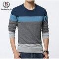 2015 nuevos hombres suéter Casual Slim Fit Male ropa O - cuello sólido de manga larga de punto jerseys Tops suéter más el tamaño M-5XL