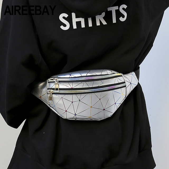 AIREEBAY Holographic Waist Bags Women Silver Fanny Pack Female Belt Bag Black Geometric Waist Packs Laser Chest Phone Pouch 2