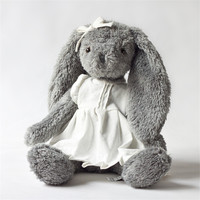 Plush Toy Grey Rabbit Wear White Linen Skirt Beautiful Bunny New Design High Quality