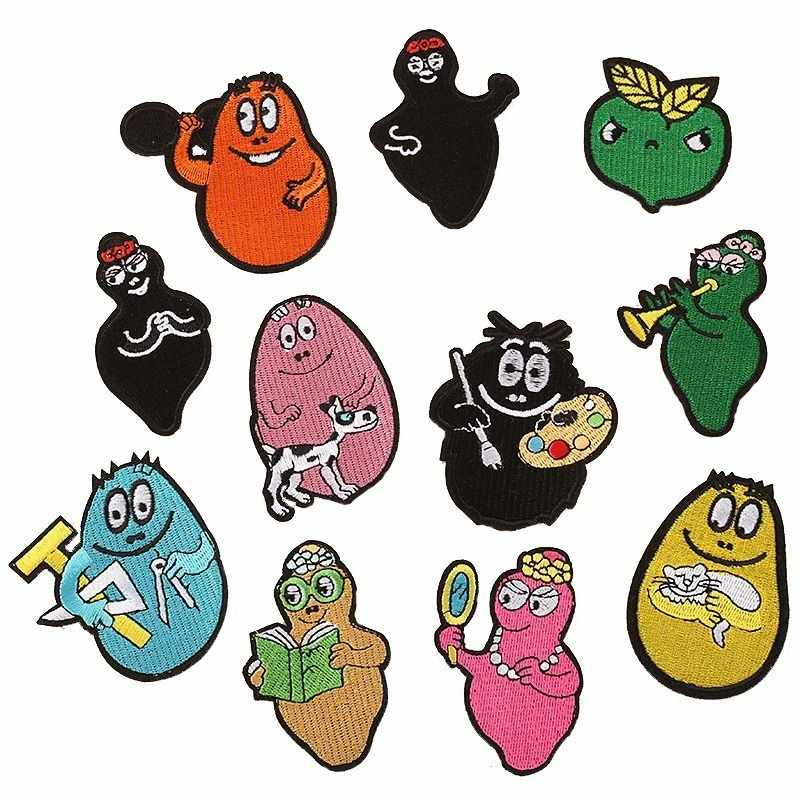 Funny Graphic Funny BarBaPaPa Family Patches Cute Iron On Anime Star Appliques For Kids Clothes 3D Diy Accessories