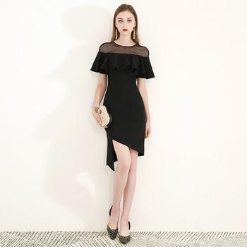 e4292b383 Negro pura cuello vaina corpiño corto Vestidos De Festa volantes asimétrica  Noche Vestidos poco vestido negro vestido De fiesta