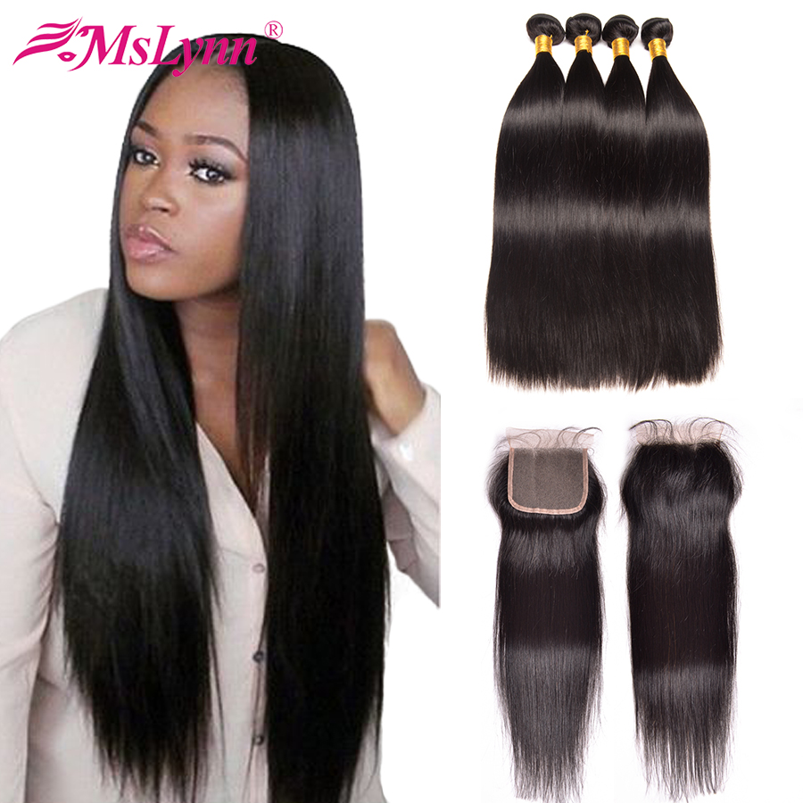 Mslynn Brazilian Hair Weave Bundles With Closure Human Hair Bundles With Closure Straight Hair Bundles With Closure NonRemy Hair