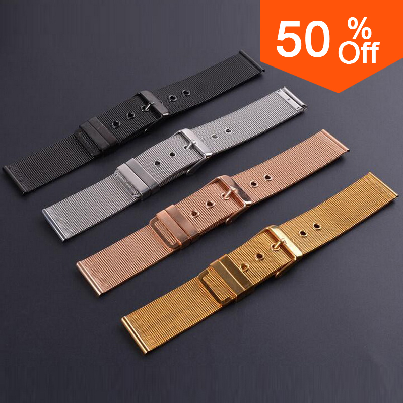 neway Stainless Steel Milanese Watch Band Strap Wrist Watchband Wristwatch Buckle Black Rose Gold Silver 18mm 20mm 22mm 24mm цены