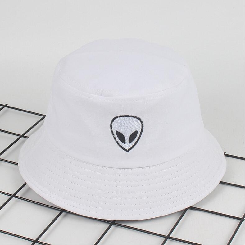 bd9bd3d80e4 Dropwow 2018 black white solid Alien Bucket Hat Unisex Bob Caps Hip ...