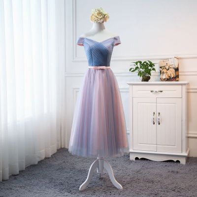 Beauty-Emily Tulle Pink   Bridesmaid     Dresses   2019 Short V-neck Lace A line Wedding Party Gown Formal   Dress   Robe De Soiree