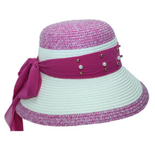 2019 New Travel Beach Straw Hat Pearl Scarf Decorative Woven Stitching Summer Bohemian Sun Ladies Jazz