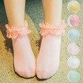 2 pairs Bebé Calcetines Niños regalos de Moda Volantes Princesa adolescente niñas de encaje de algodón calcetines del cabrito calcetines calcetines encantadores de la princesa