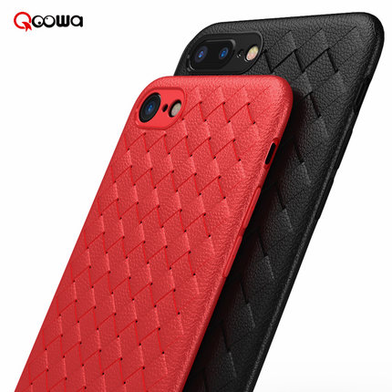 Qoowa Top quality cross leather pattern weaving breathable case for iPhone 7 for iPhone 8 for iPhone 7 plus for iPhone8 plus