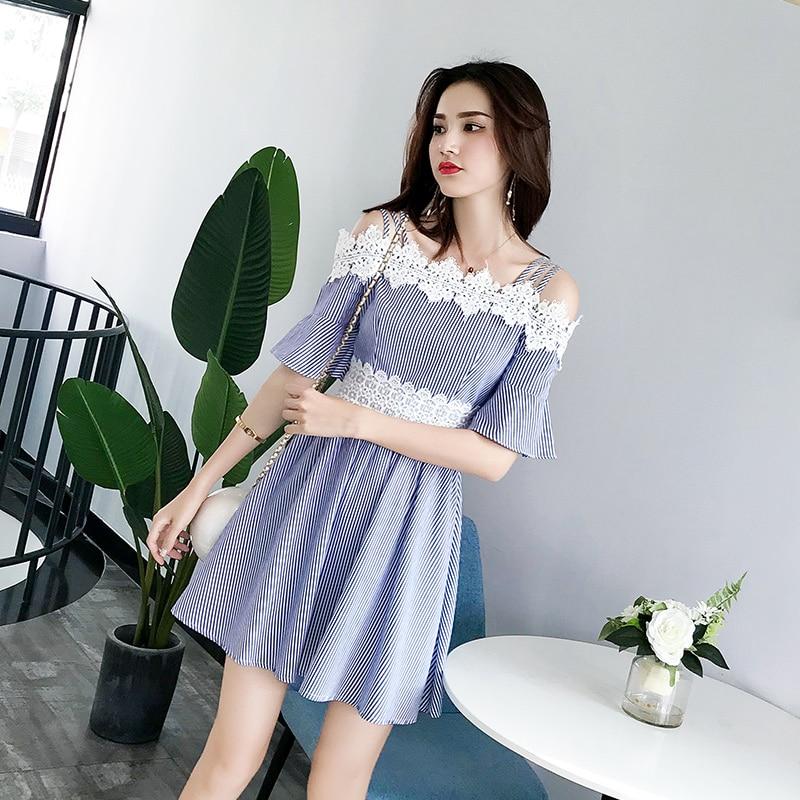 EAD Lace Off Shoulder Short Sleeve Summer Dresses Casual Stripe Women Elegant Dress High Waist a Line Sexy Sundress Lady Vestido