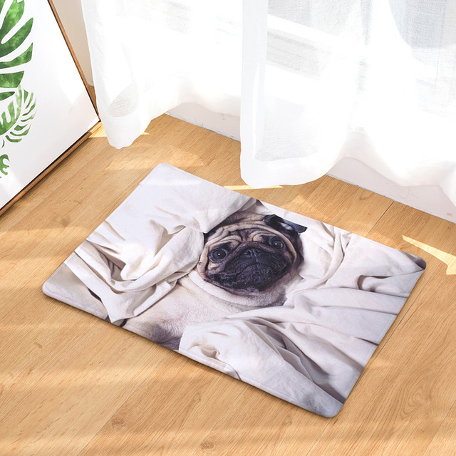 Cute Belldog Pattern Bathroom Floor Mat Doormats Balcony Kitchen Mats  Living Room Bath Carpet Bedroom Rugs