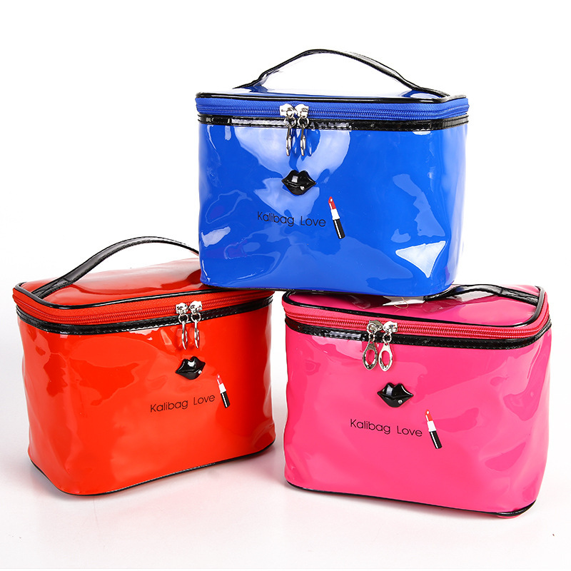 Korean candy color lacquer skin cosmetic bag large capacity portable cosmetic bag waterproof travel wash bag in Cosmetic Bags Cases from Luggage Bags
