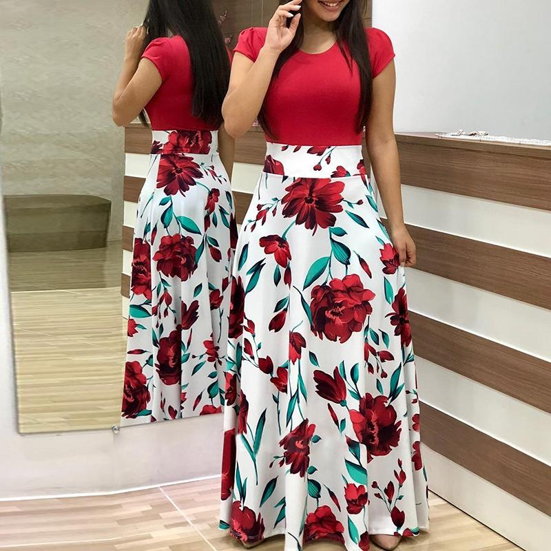 Sexy Women Elegant Boho Everyday Essentials Splicing Long Red Party Dress Stylediary Short Sleeve Floral Print Maxi Dress
