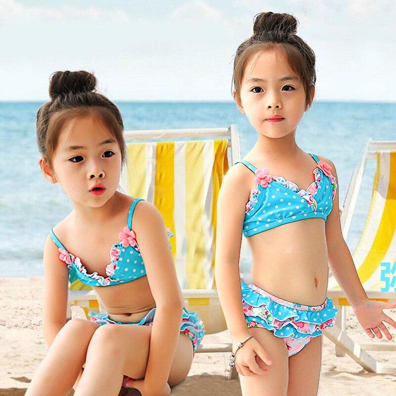 Baby Toddler Girls Swimwear Dot Floral Two Pieces Swim Suit Polyester Girl Bikini Set Kids Beach Swimsuits Children Bathing Suit