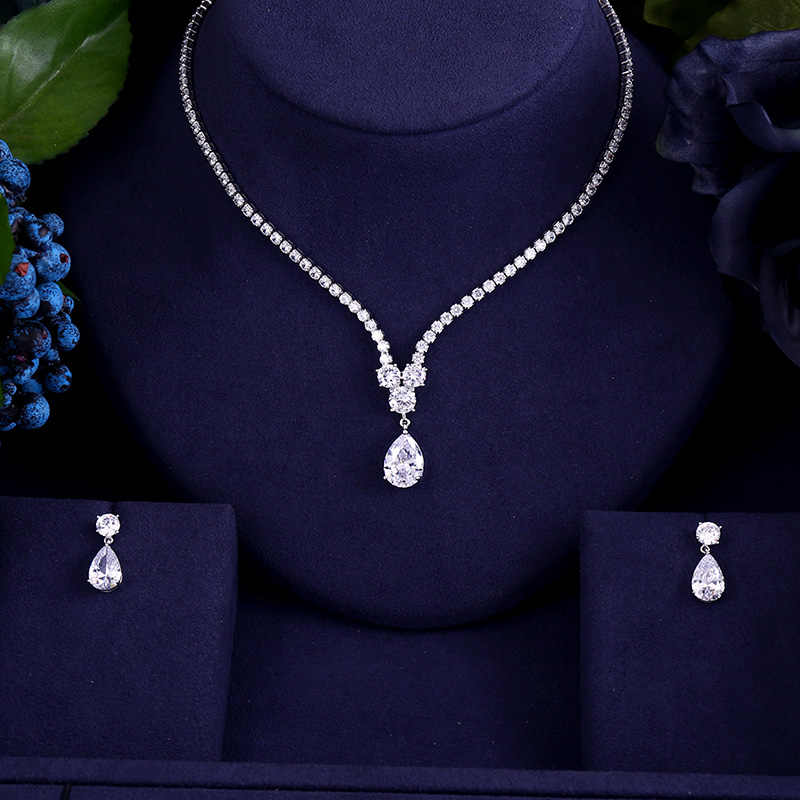New design luxury AAA zircon water drop shape necklace pendant Set  for women,high quality party/jewelry wedding