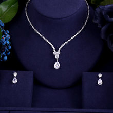 New design luxury AAA zircon water drop shape necklace pendant Set for women,high quality party/jewelry wedding(China)