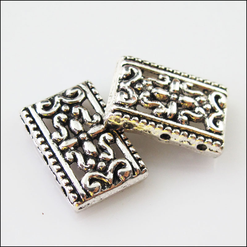 4Pcs Antiqued Silver Tone 3Holes Flower Spacer Beads Bar Charms Connector 9x26mm