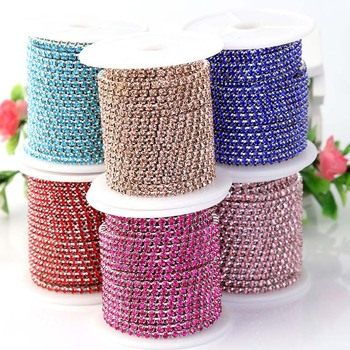 2yards/lot SS6 2/3mm Silver Metal Base Densify Claw Colored Crystal Rhinestone Cup Chain Trimming DIY Necklace Z119 nizi 1440 ss6 1 9 2 1 diy 19 36