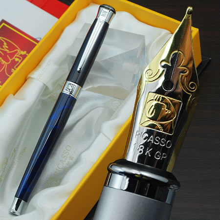 Hot Selling Picasso Fountain Pen #903 Deep Blue Barrel Office Supply Pimio Pen M Nib Smooth Writing Pens