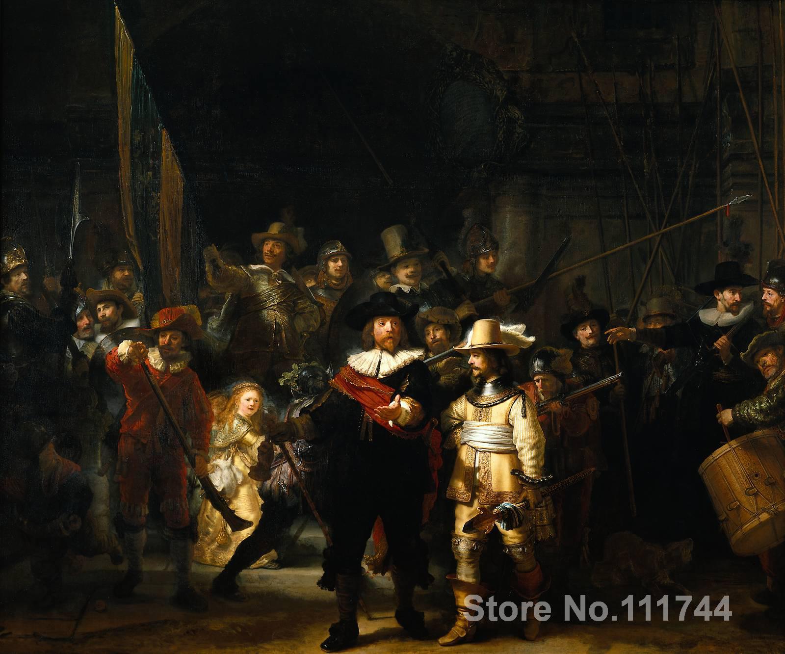 Ручная роспись Портрет маслом ночной дозор Рембрандт Ван Рейн репродукция