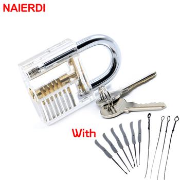 NAIERDI widoczny Pick Cutaway praktyka blokada kłódki z złamany klucz do wyjmowania haczyków zestaw zamków zestaw do usuwania narzędzia ślusarskie tanie i dobre opinie 7 8 x 5 x 2 3cm NED-LT5-W Kłódki Keyed Metalworking Flat Key Acrylic and Alloy approx 7 8 x 5 x 2 3cm (L x W x H) Transparent Practice Padlock Lock With Broken Key Removing Hooks