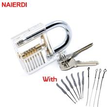 NAIERDI Visible Pick Cutaway Practice Padlock Lock With Broken Key Removing Hooks Lock Kit Extractor Set Locksmith Tool