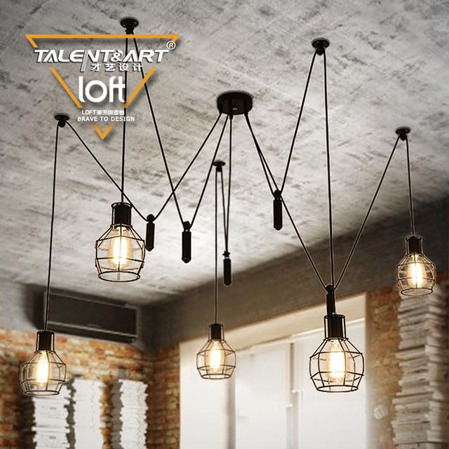 110 240v E27*5 LOFT vintage style black industrial Pendant Lights ...